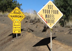 Warning signs to Summit Road - Curiosity Trek - Hawaii